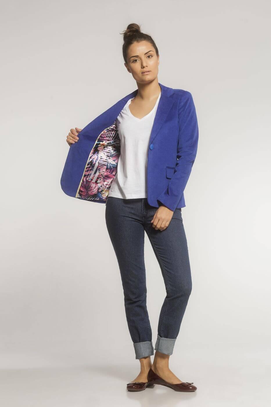 Blazer Clássico Veludo Azul Bic