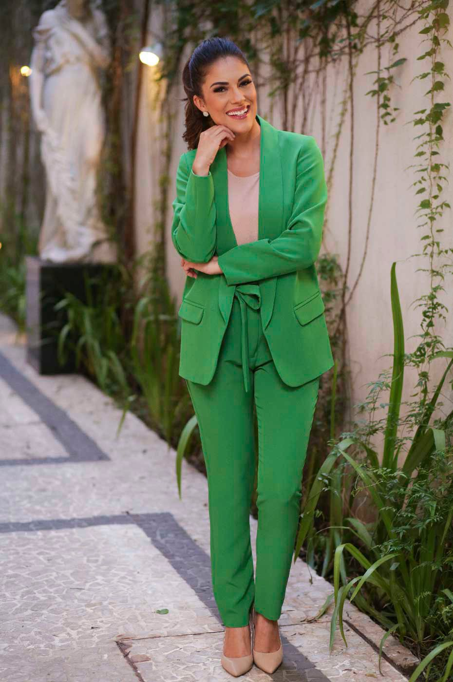 Blazer Alongado Alfaiataria Verde Bandeira