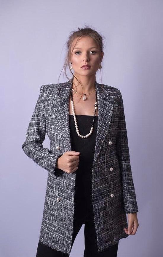 Blazer Feminino Alongado Tweed Xadrez
