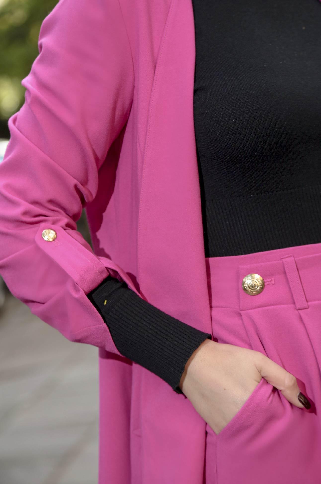 Blazer Feminino Alongado Botões Manga 3/4 Alfaiataria Rosa Pink
