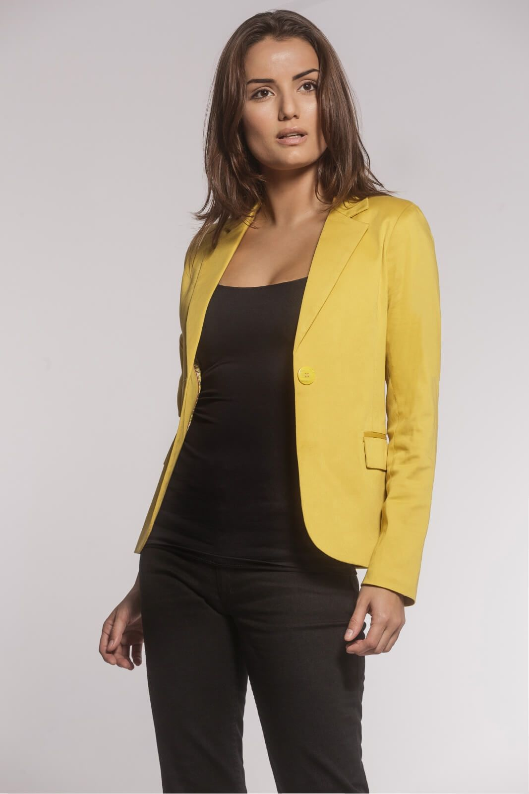 Blazer Clássico Alfaiataria Sarja Amarelo