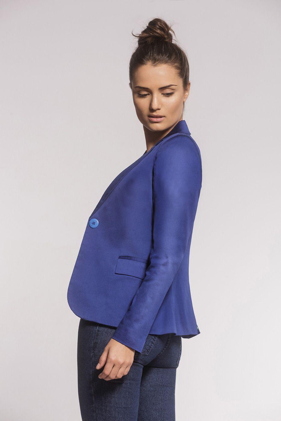 Blazer Clássico Alfaiataria Sarja Azul Bic