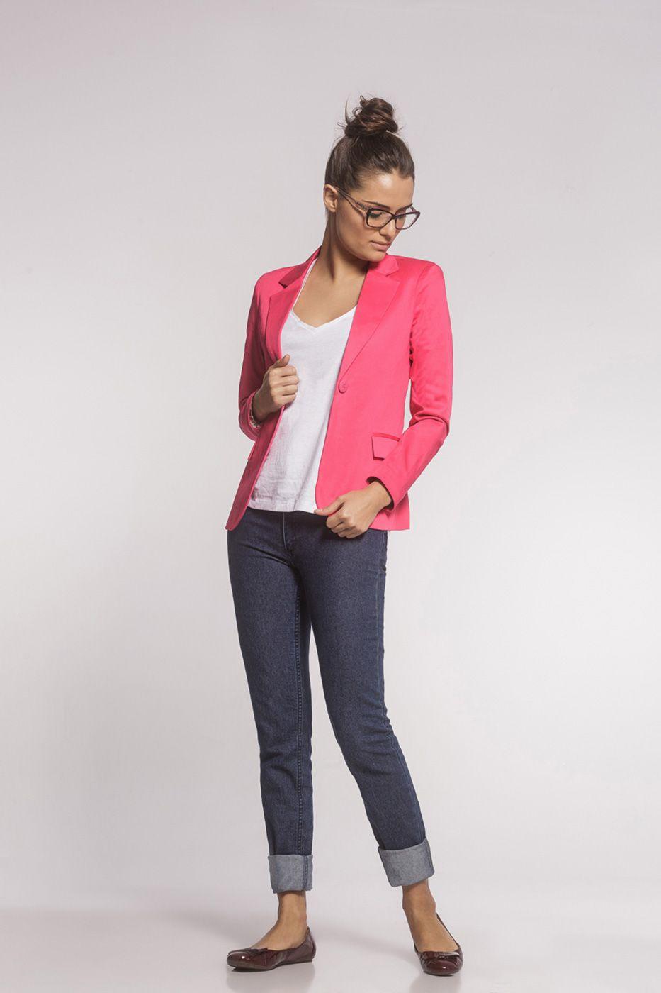 Blazer Clássico Sarja Rosa Pink
