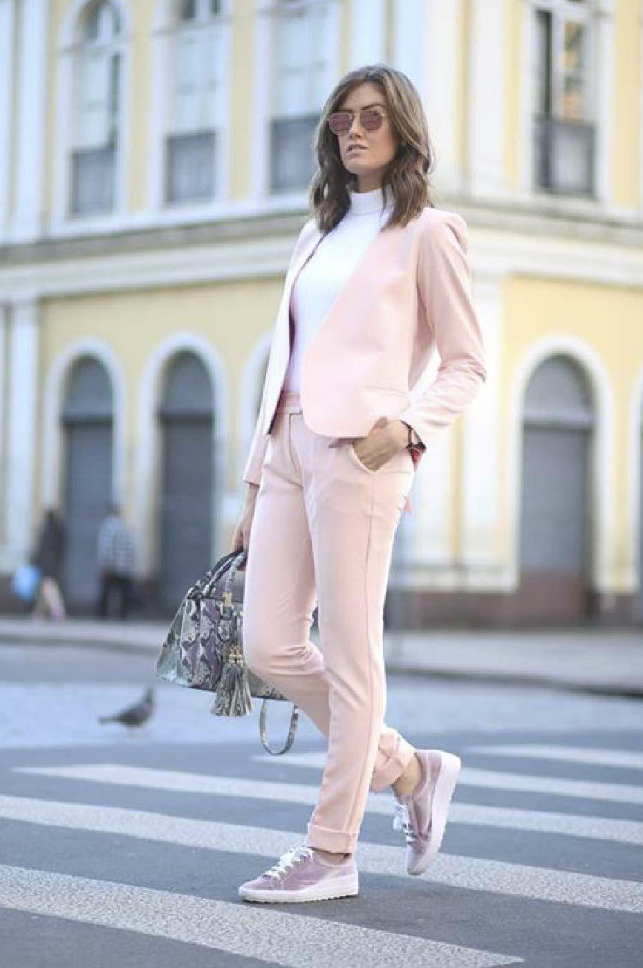 Blazer Feminino Laço e Calça Social Alfaiataria Feminina Rosé