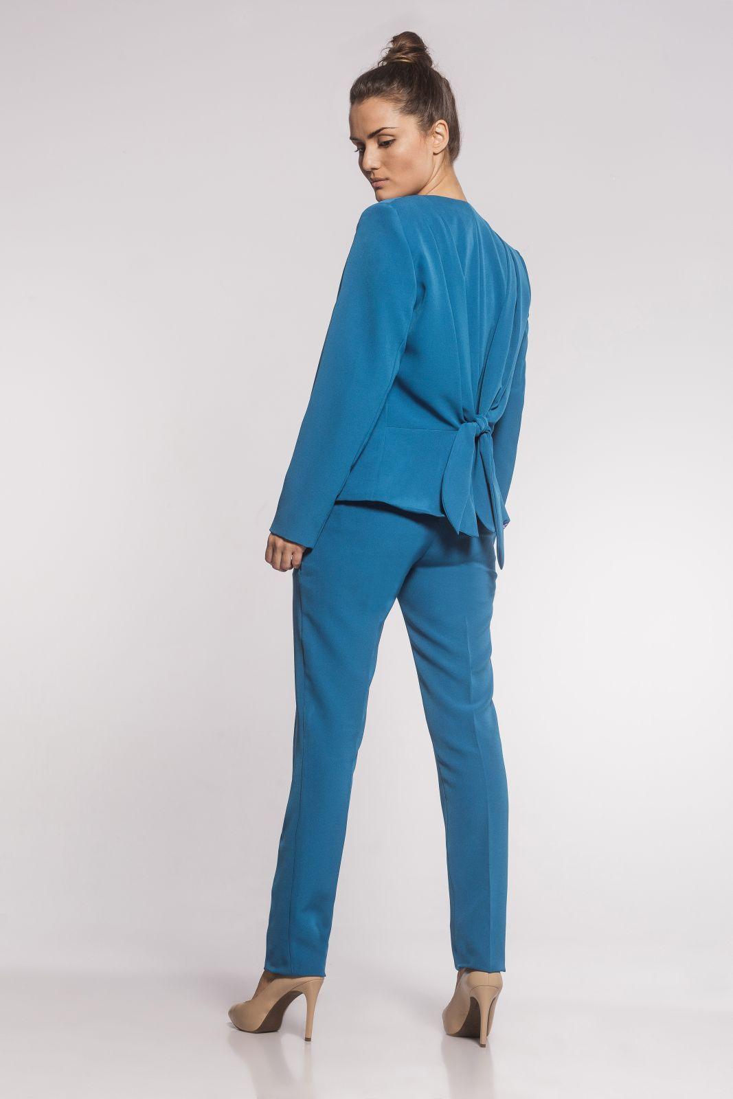 Blazer Feminino Laço Alfaiataria Azul