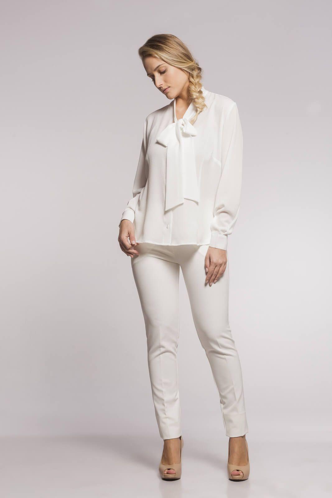 Blazer Laço e Calça Social Alfaiataria Feminina Off White