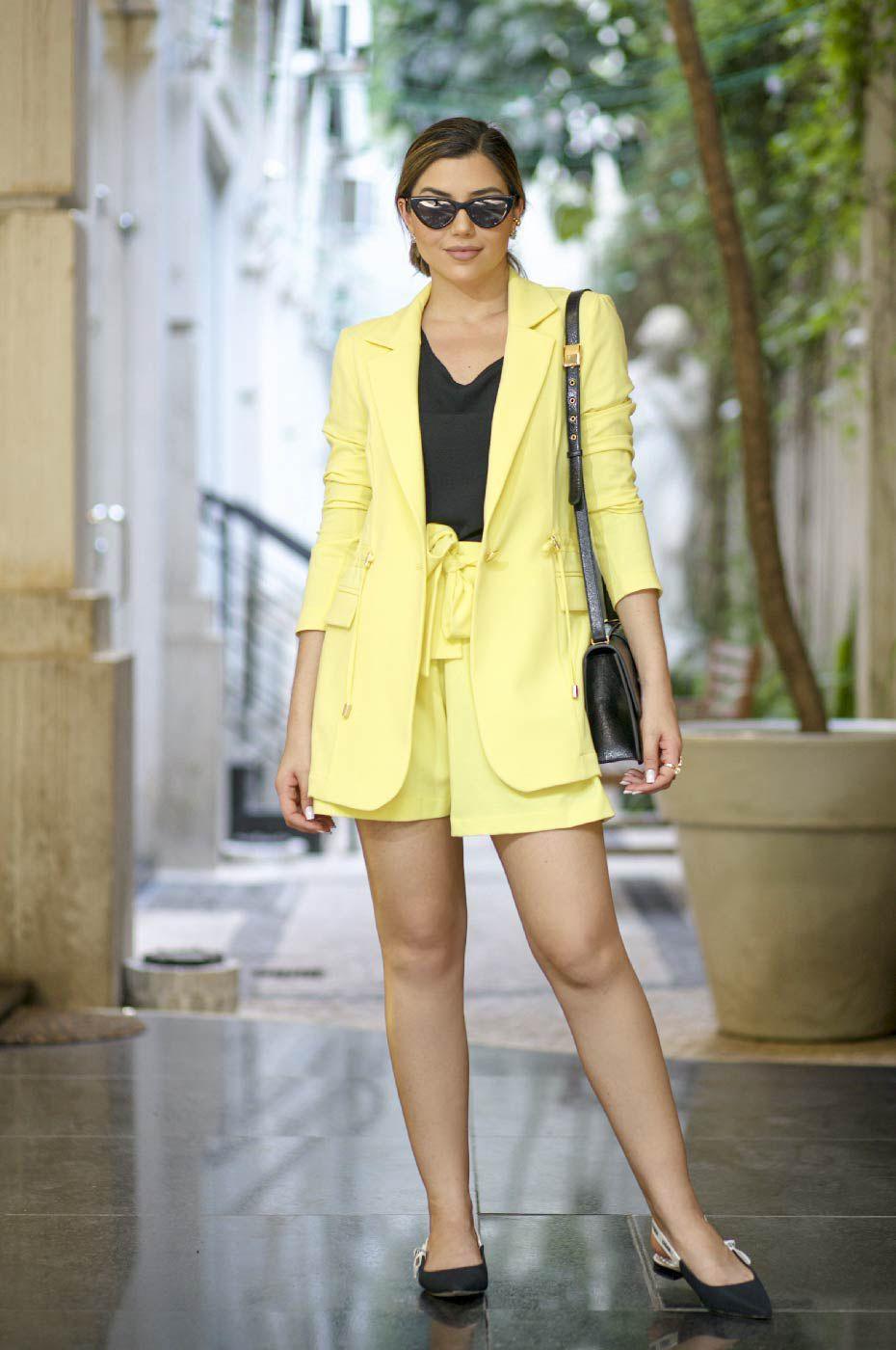 Blazer Parka Alfaiataria Amarelo