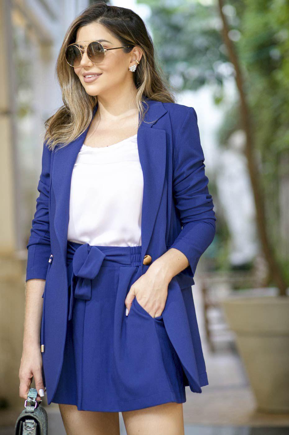 Blazer Parka Feminino e Short Clochard Azul Marinho