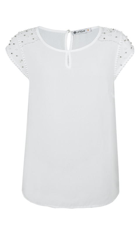 Blusa Bordada Crepe Branco