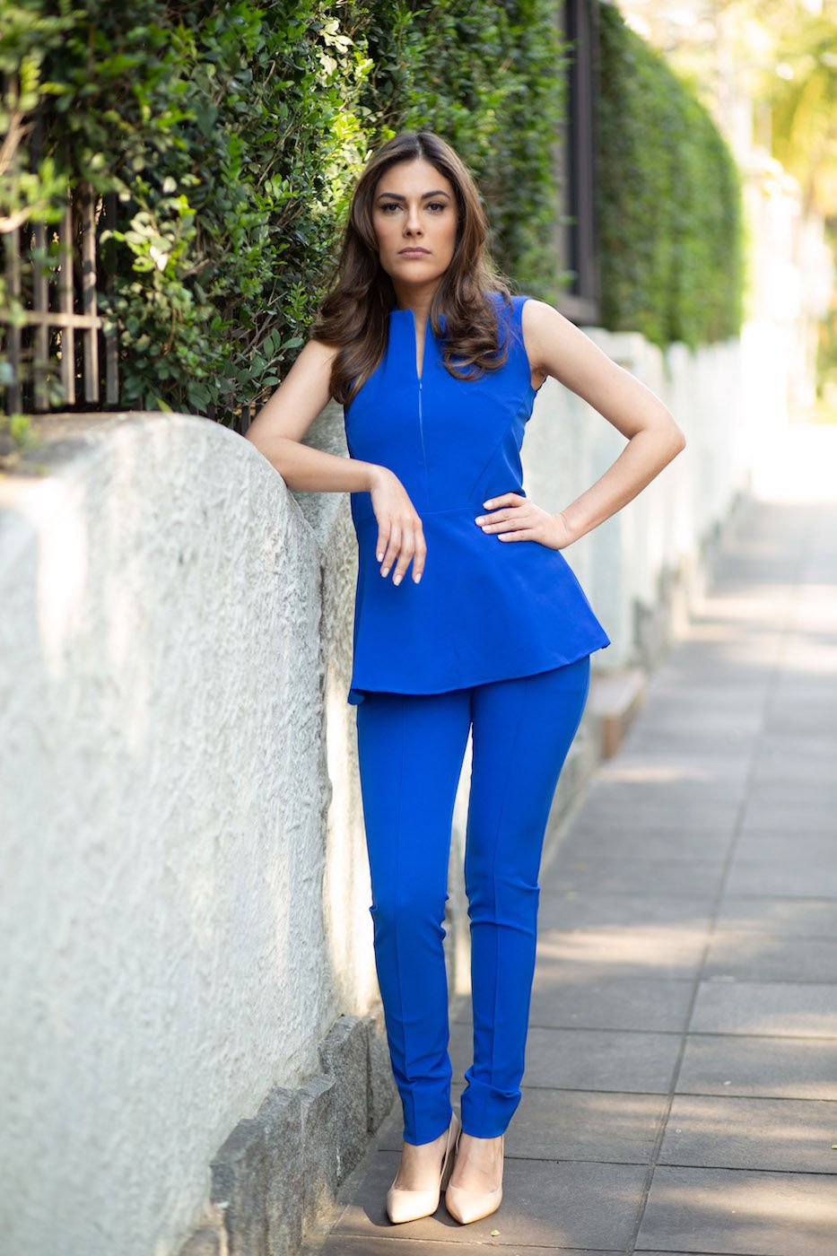 Blusa Babado Peplum Alfaiataria Feminina Azul bic