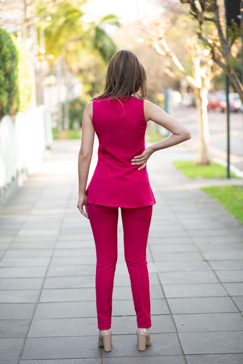 Blusa Babado Peplum Alfaiataria Feminina Rosa Pink
