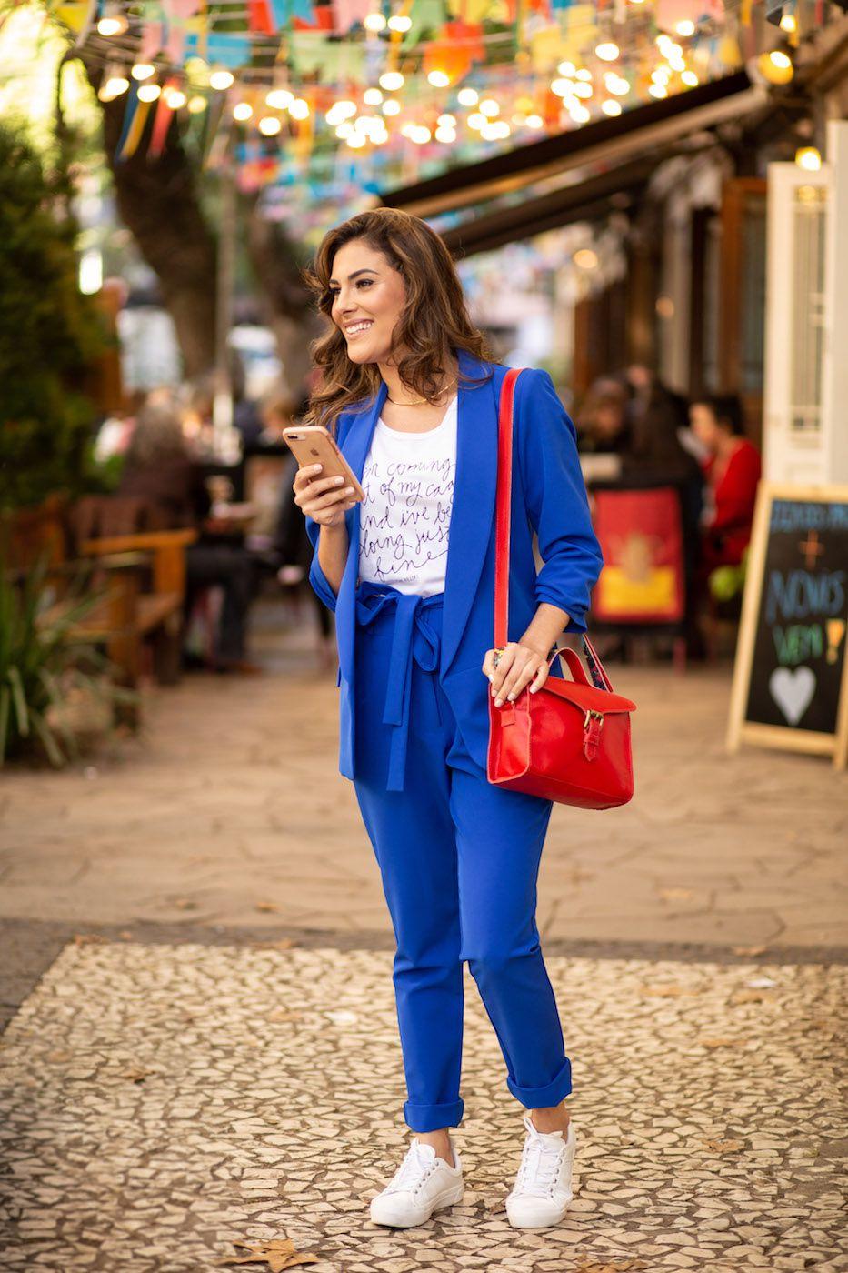 Calça Clochard Alfaiataria Feminina Azul bic