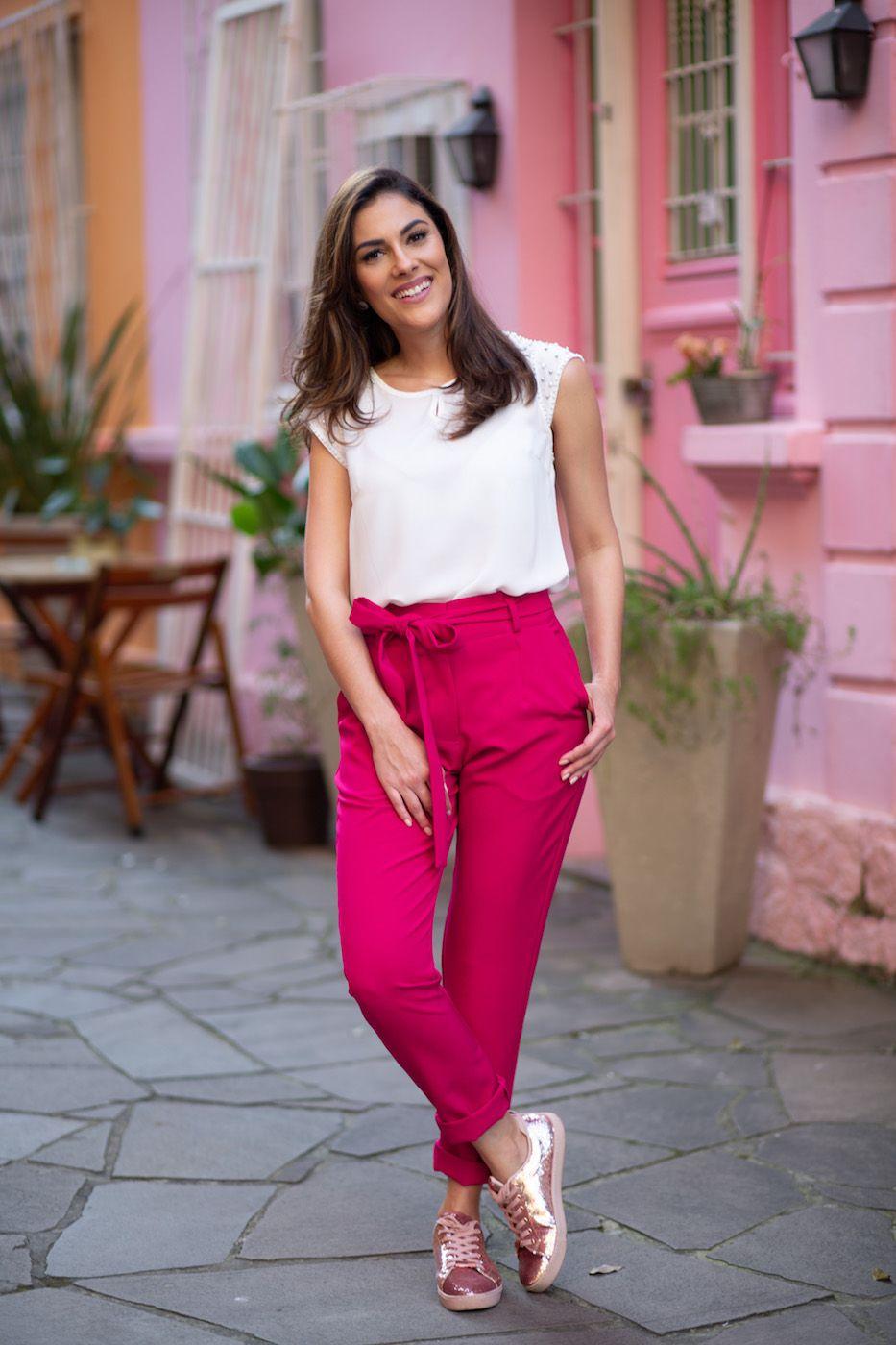 Calça Clochard Alfaiataria Feminina Rosa pink
