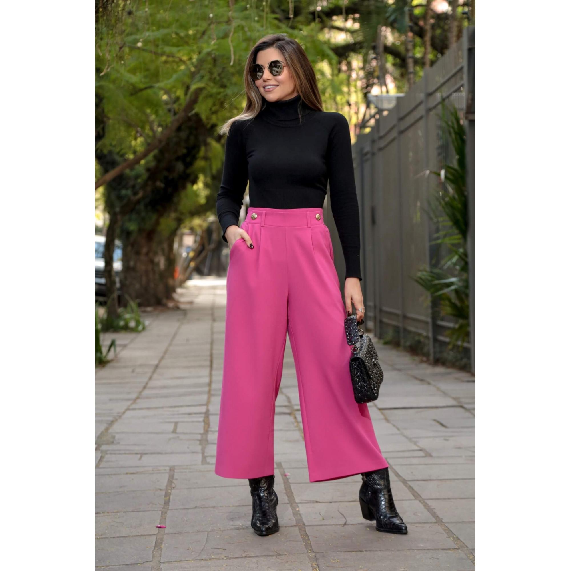 Calça Pantacourt com Botões Alfaiataria Rosa Pink