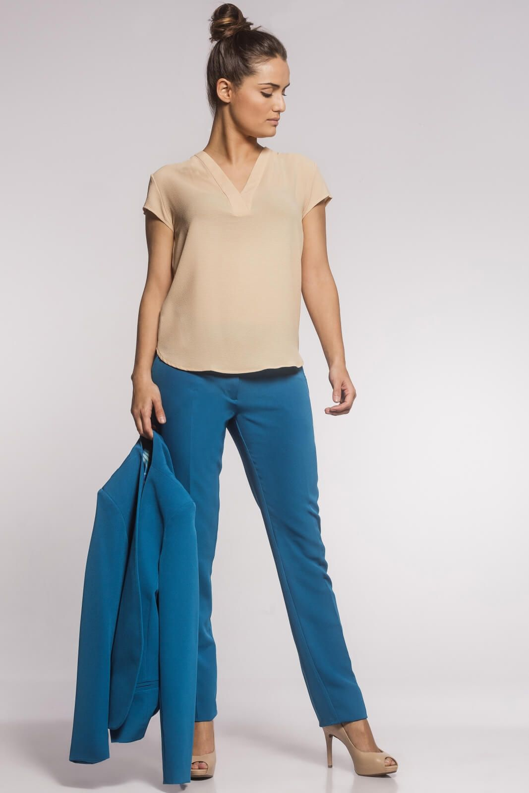 Calça Social Feminina Alfaiataria Azul