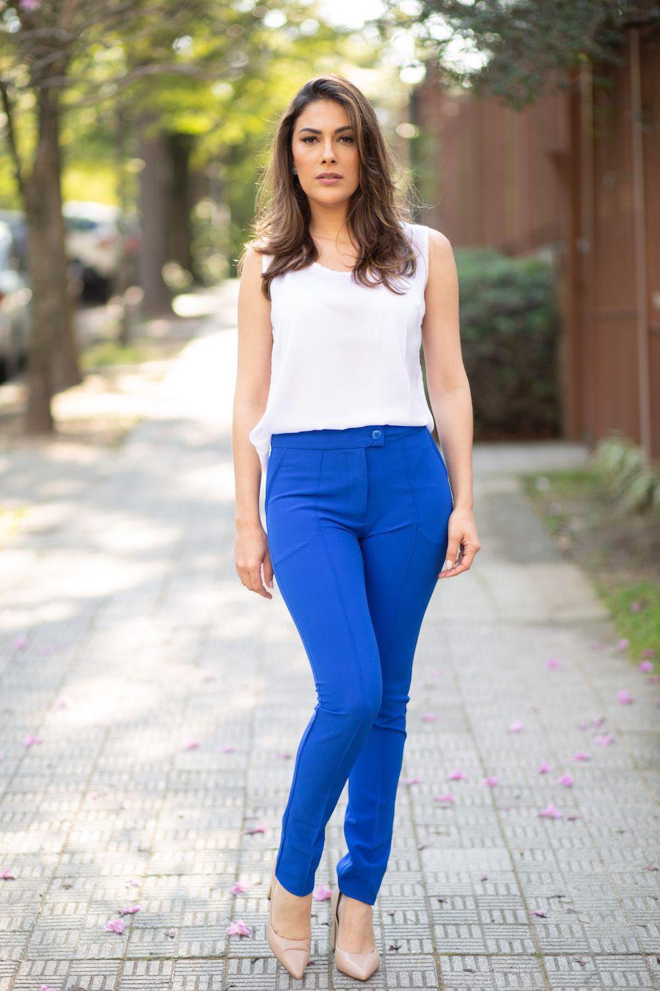 Calça Social Alfaiataria Azul Bic
