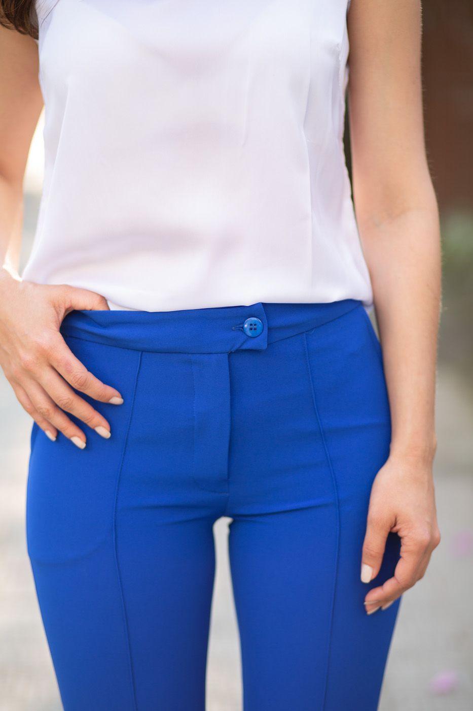 Calça Social Feminina Alfaiataria Azul Bic