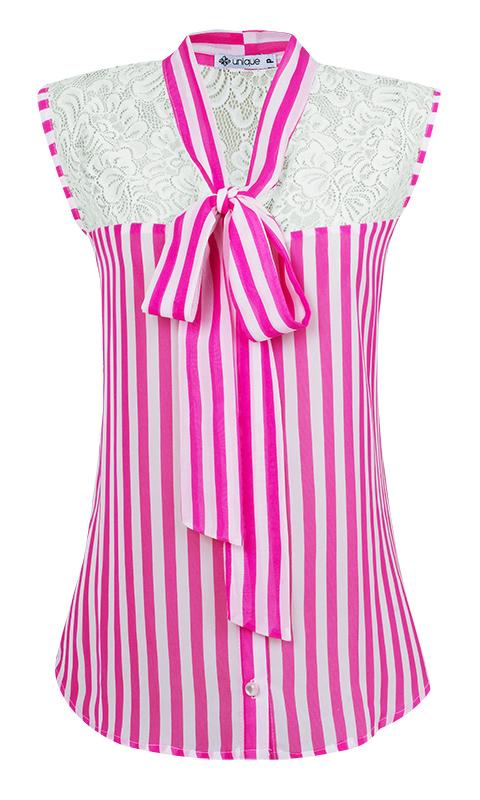 Camisa Gola Laço Crepe com Renda Listrado Rosa