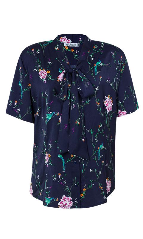 Camisa Gola Laço Crepe Manga Curta Floral