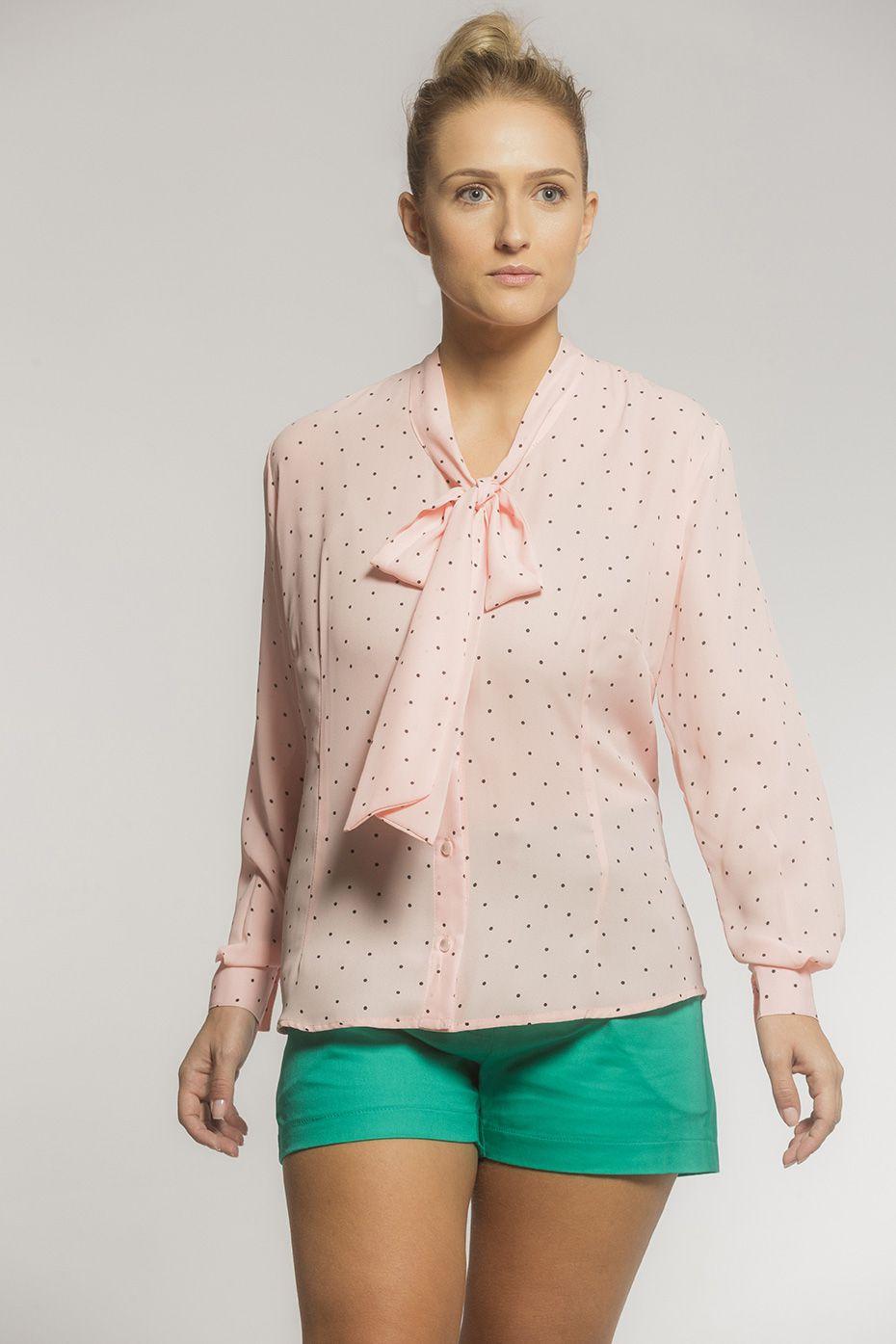 Camisa Gola Laço Crepe Poá Rosé