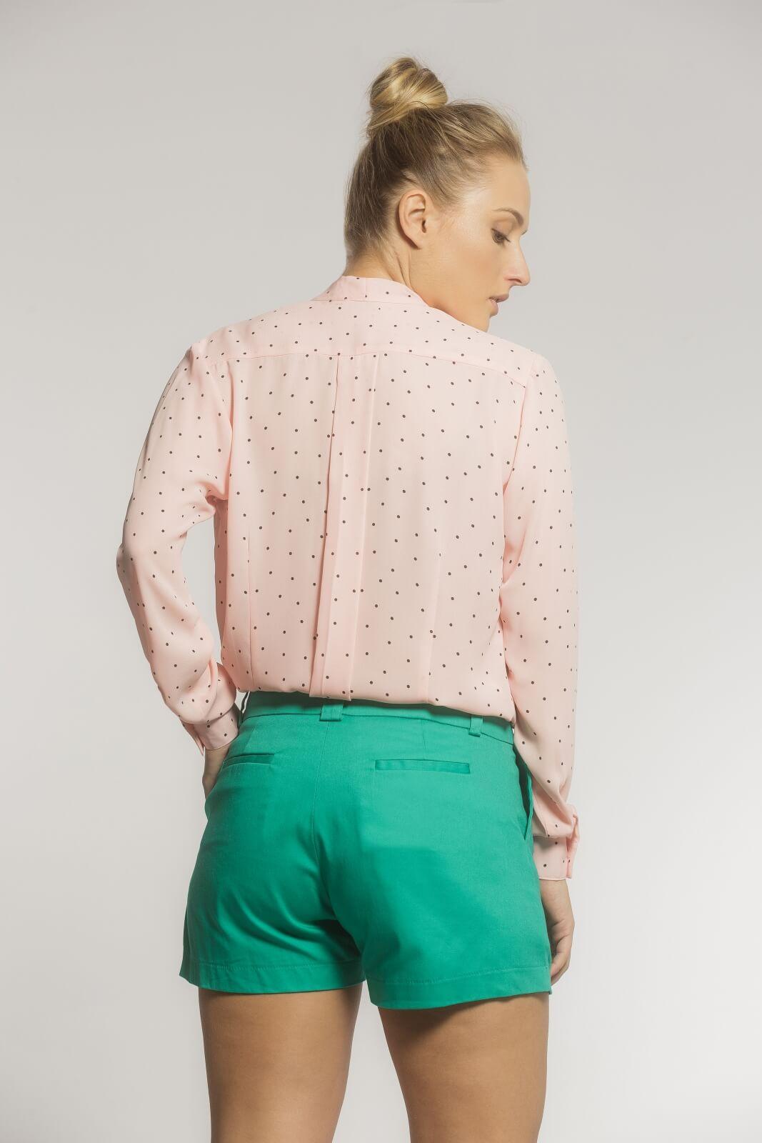 Camisa Feminina Gola Laço Crepe Poá Rosé