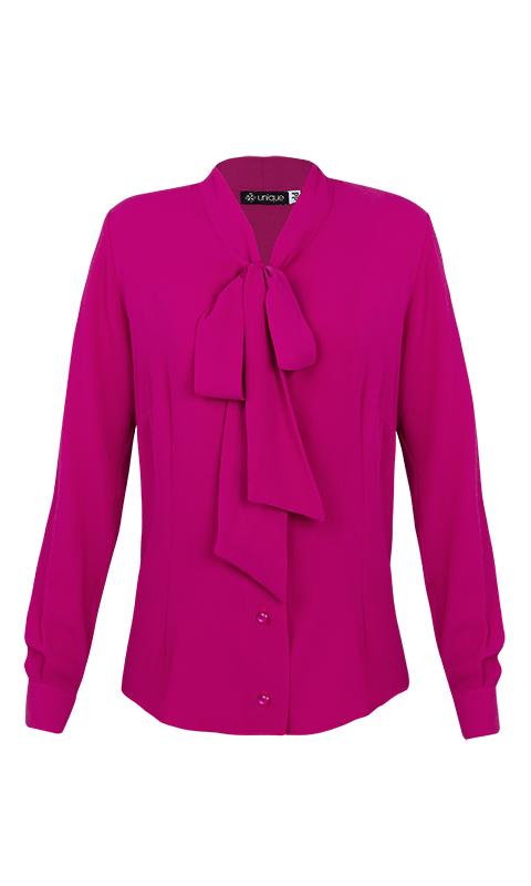 Camisa Gola Laço Crepe Rosa Fúcsia