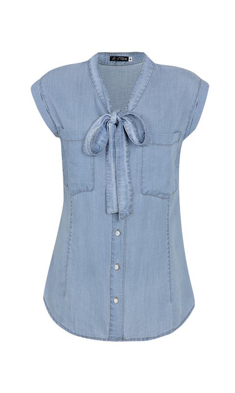 Camisa Gola Laço Liocel Azul Claro