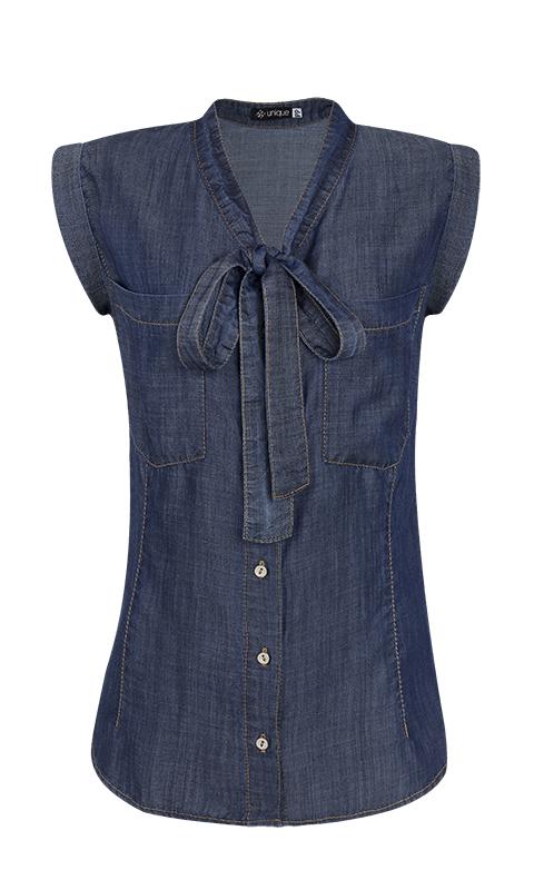 Camisa Gola Laço Liocel Azul Escuro