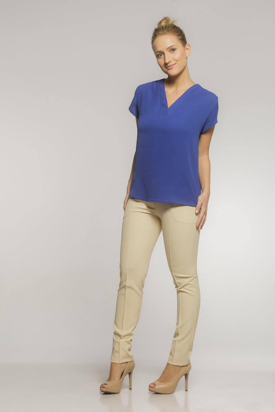 Camisa Gola V Blooms Crepe Marrocos (Kit com 3)