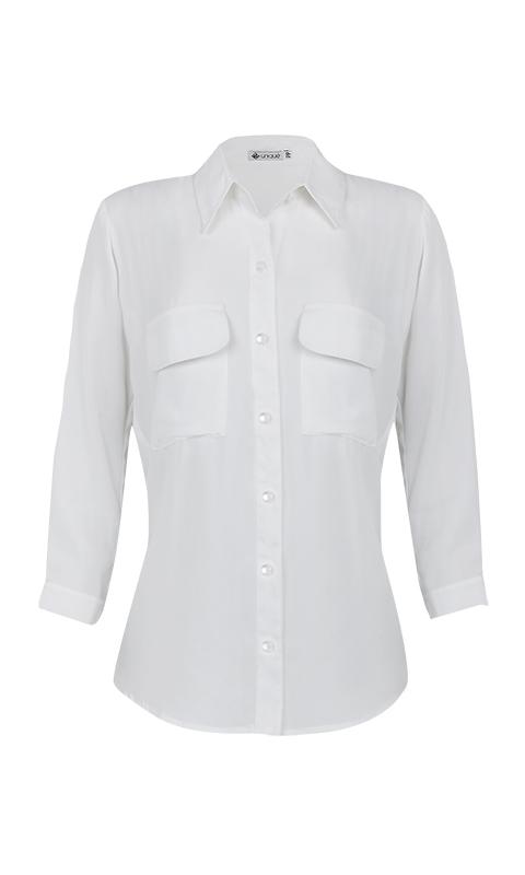 Camisa Manga 3/4 c/ Bolsos Crepe Off White