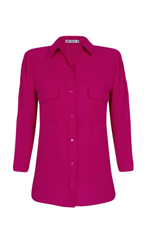 Camisa Manga 3/4 c/ Bolsos Crepe Pink