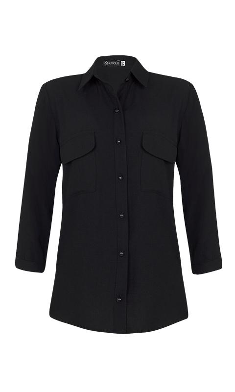 Camisa Manga 3/4 c/ Bolsos Crepe Preto