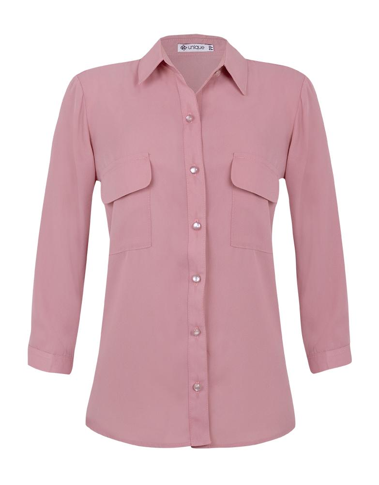 Camisa Manga 3/4 c/ Bolsos Crepe Rosa