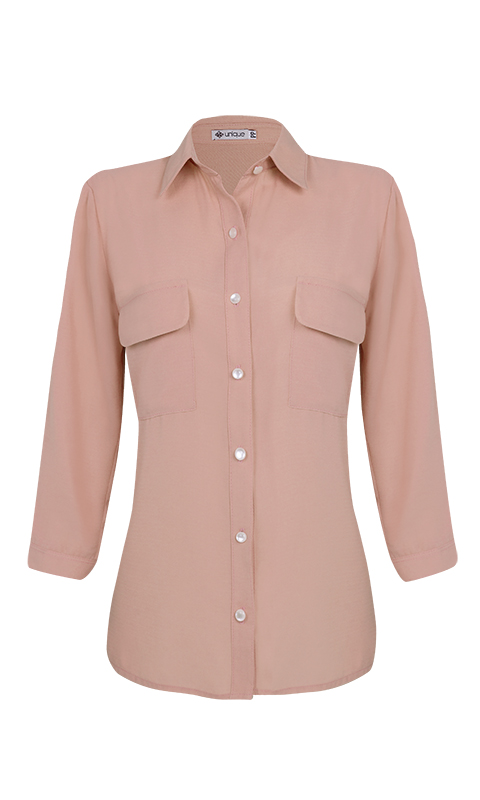 Camisa Manga 3/4 c/ Bolsos Crepe Rose