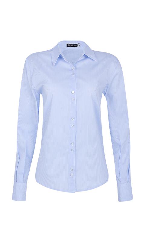 Camisa Social Tricoline Listrado Azul Claro