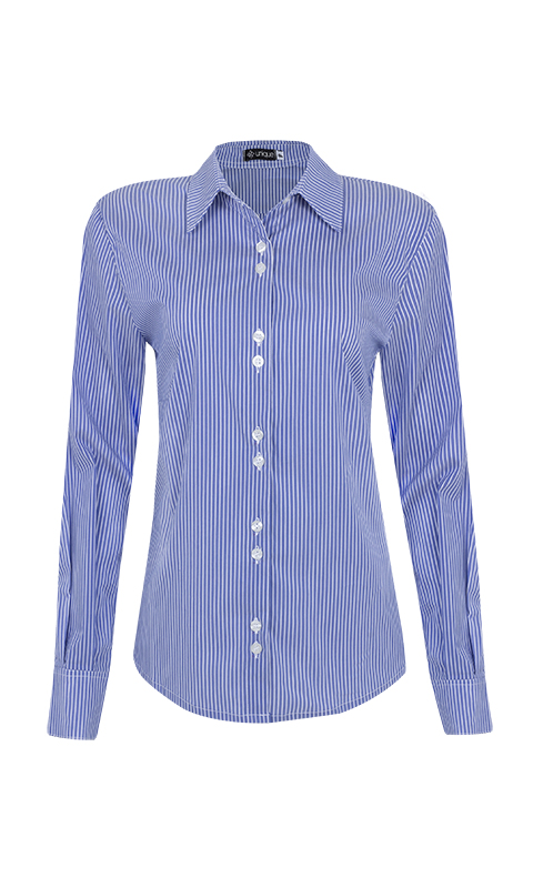 Camisa Social Tricoline Listrado Azul Jeans