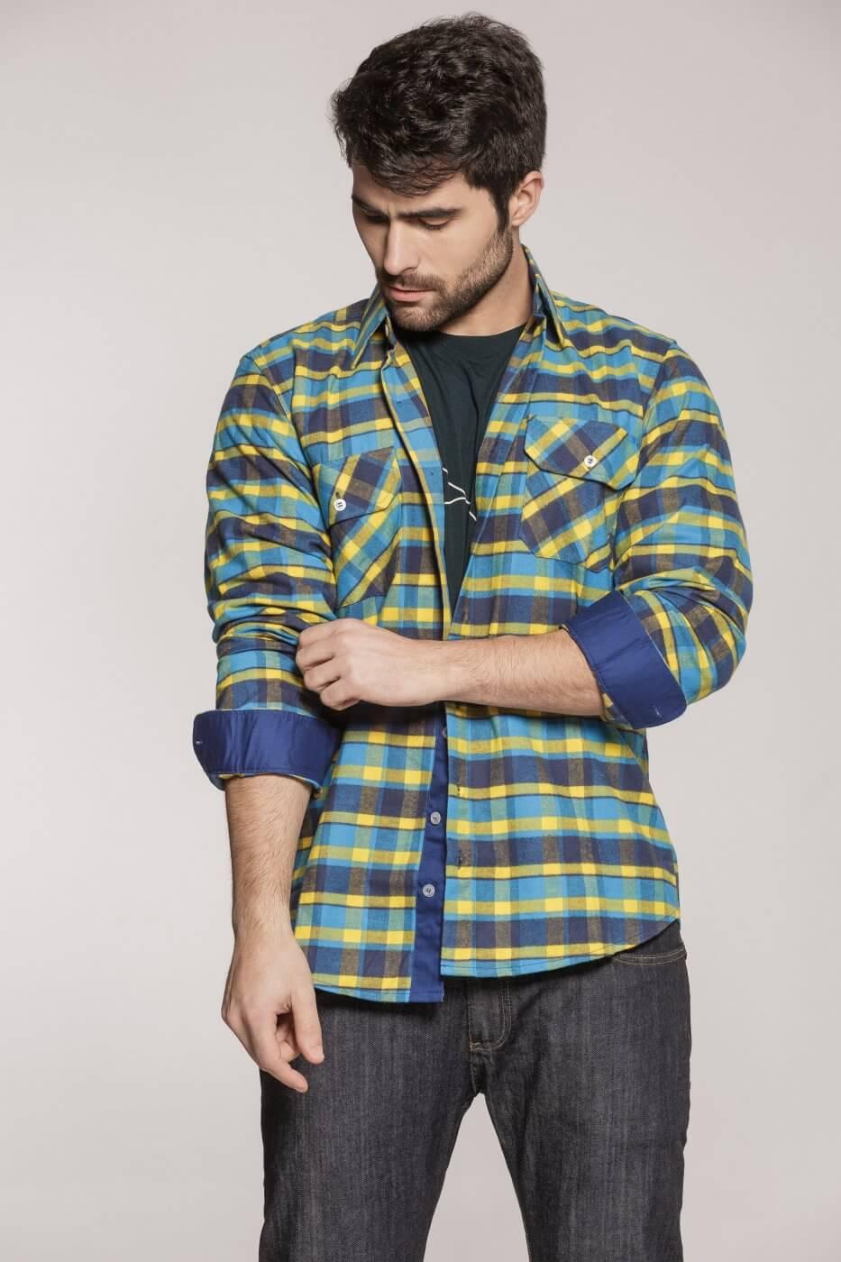 Camisa Tradicional Flanela Xadrez Azul e Amarelo