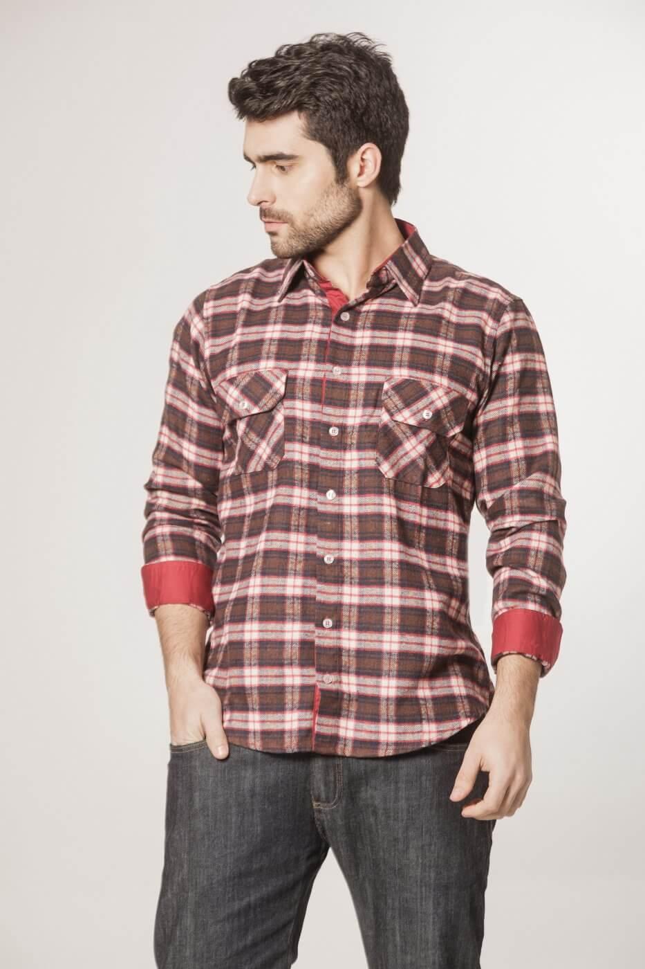 Camisa Tradicional Flanela Xadrez Vermelho e Marrom