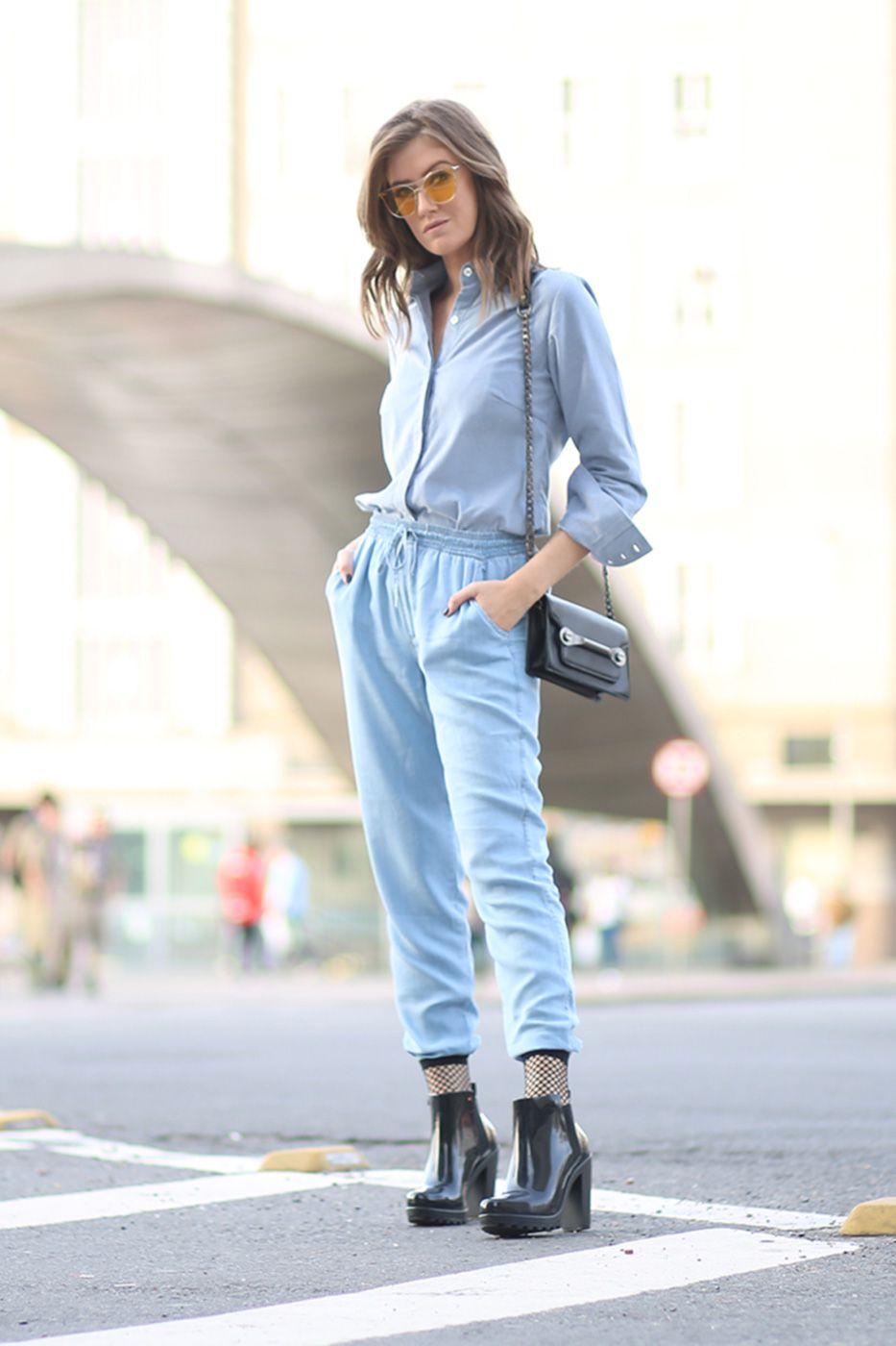 Camisa Tradicional Jeans Azul Claro