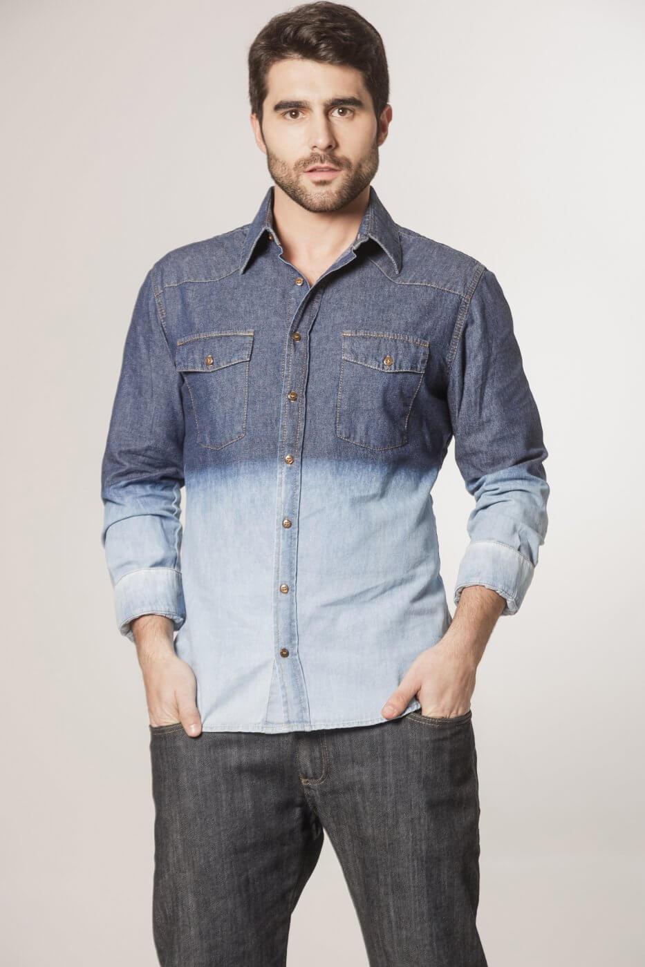 Camisa Tradicional Jeans Azul Degradê