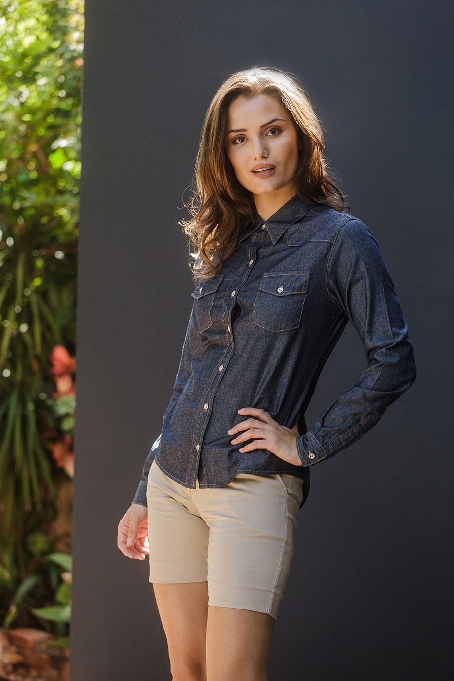 Camisa Tradicional Jeans Azul Escuro