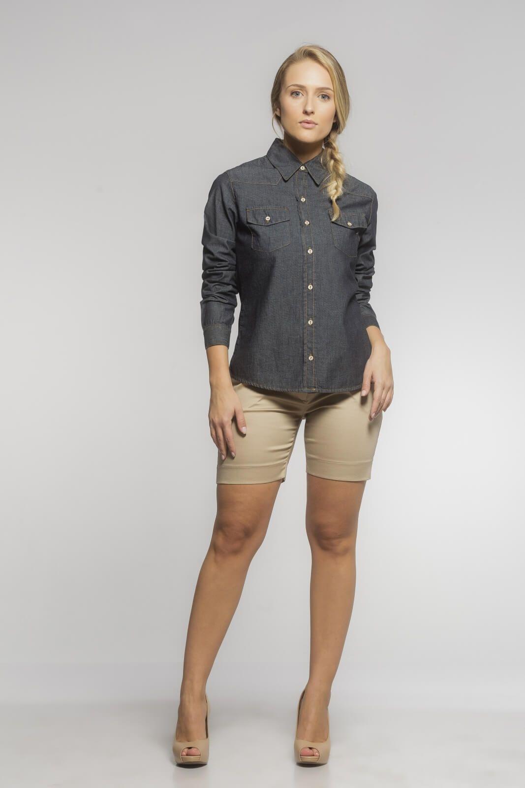 Camisa Feminina Alfaiataria Jeans Azul Escuro