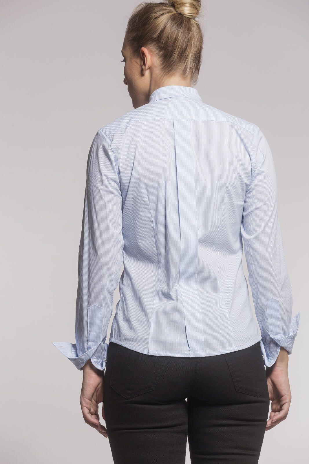 Camisa Tradicional Tricoline Listrado Azul Claro