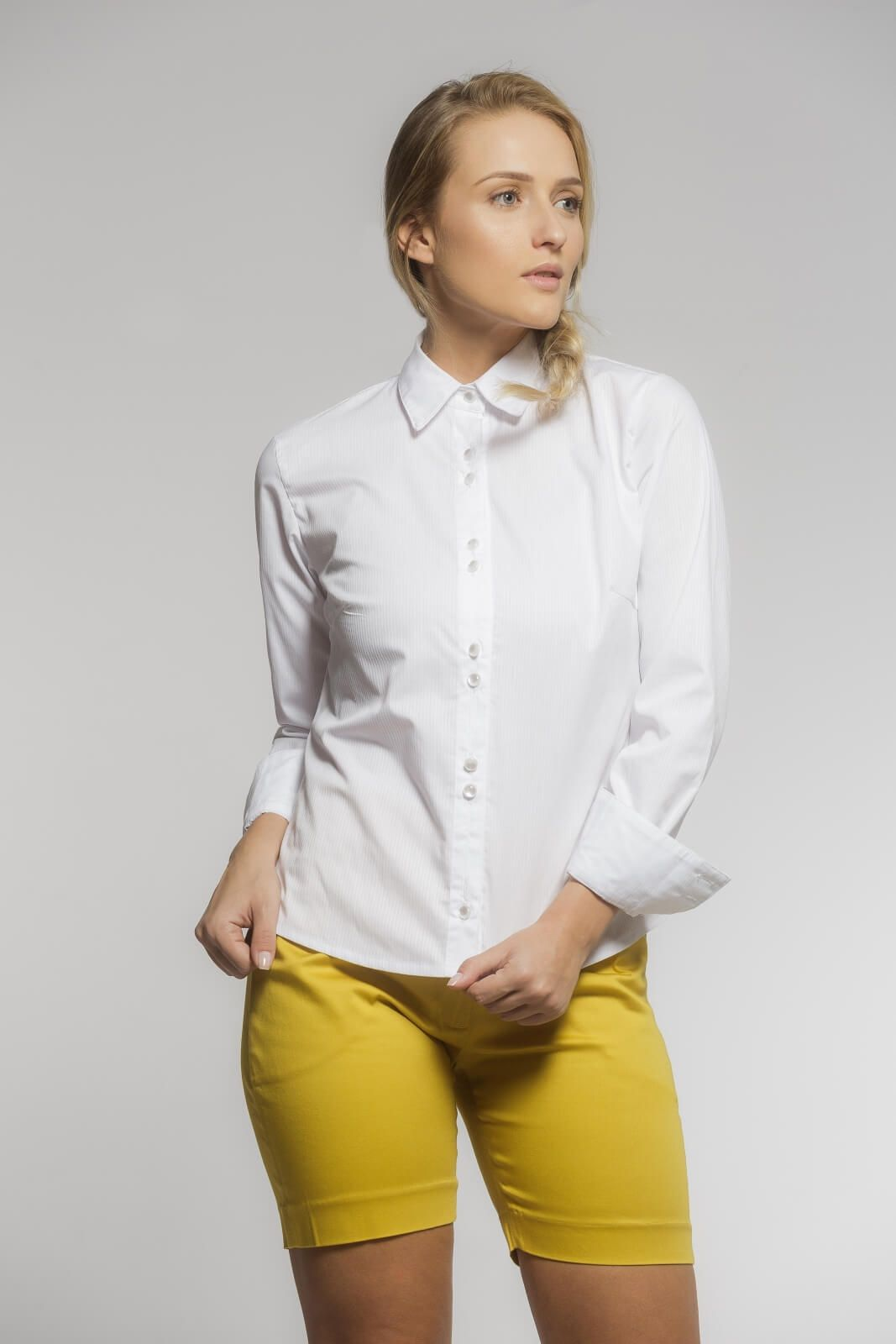 Camisa Tradicional Tricoline Listrado Branco