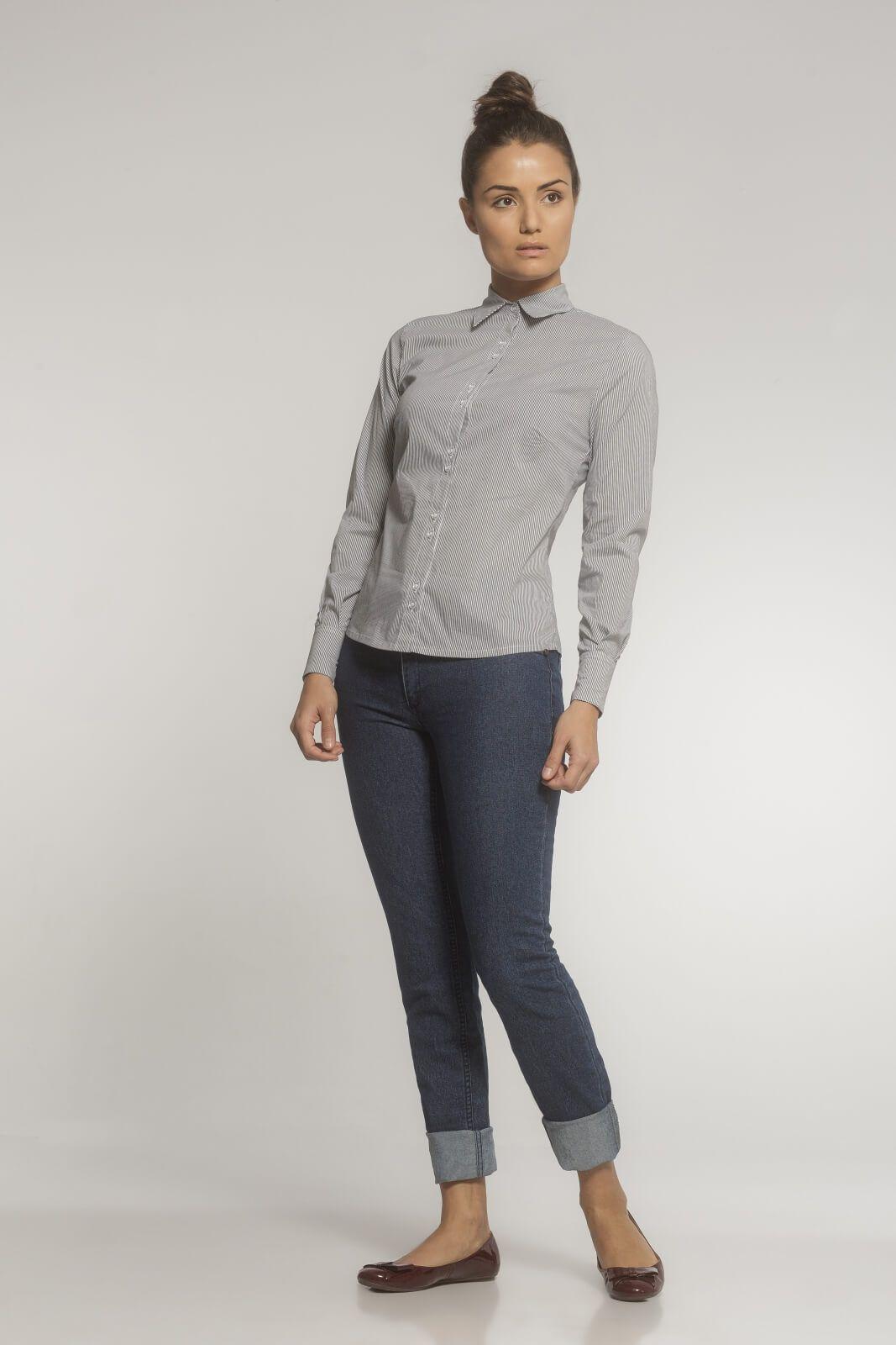 Camisa Social Tricoline Listrado Preto e Branco