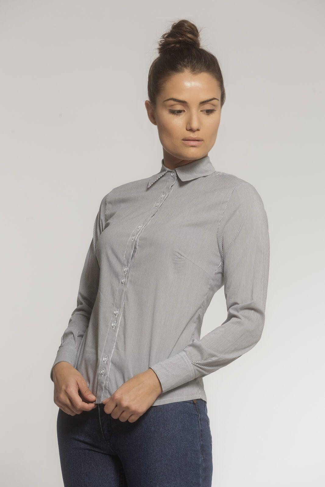 Camisa Feminina Alfaiataria Tradicional Tricoline Listrado Preto