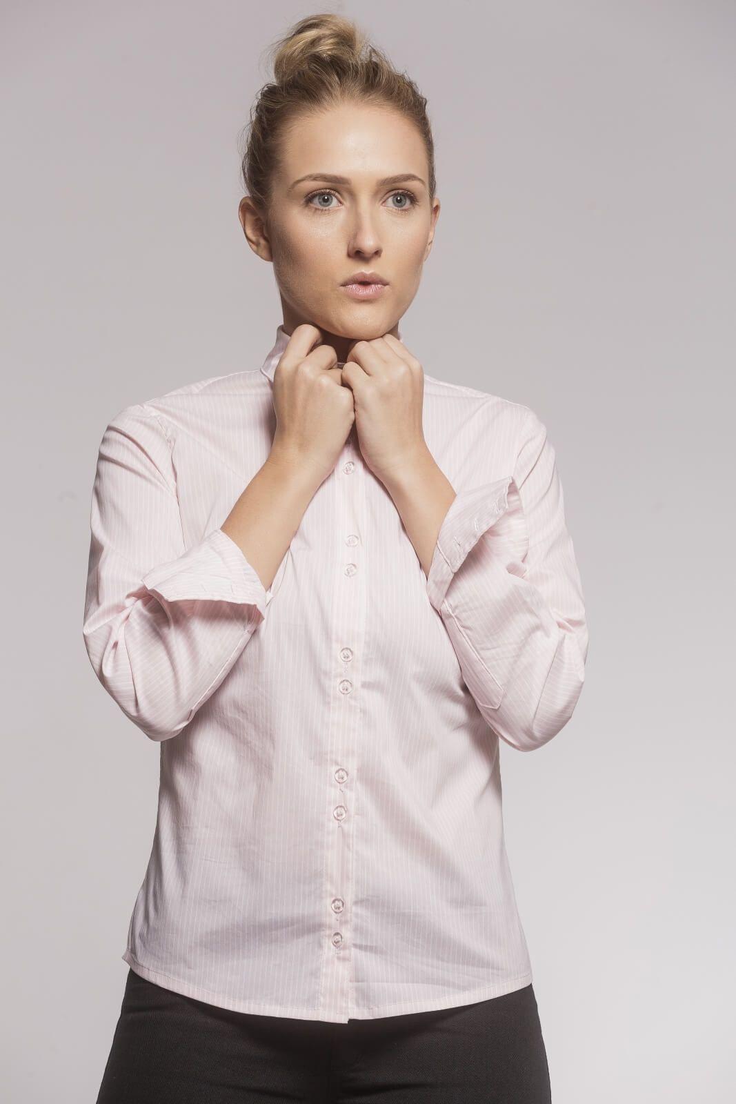 Camisa Tradicional Tricoline Listrado Rosé