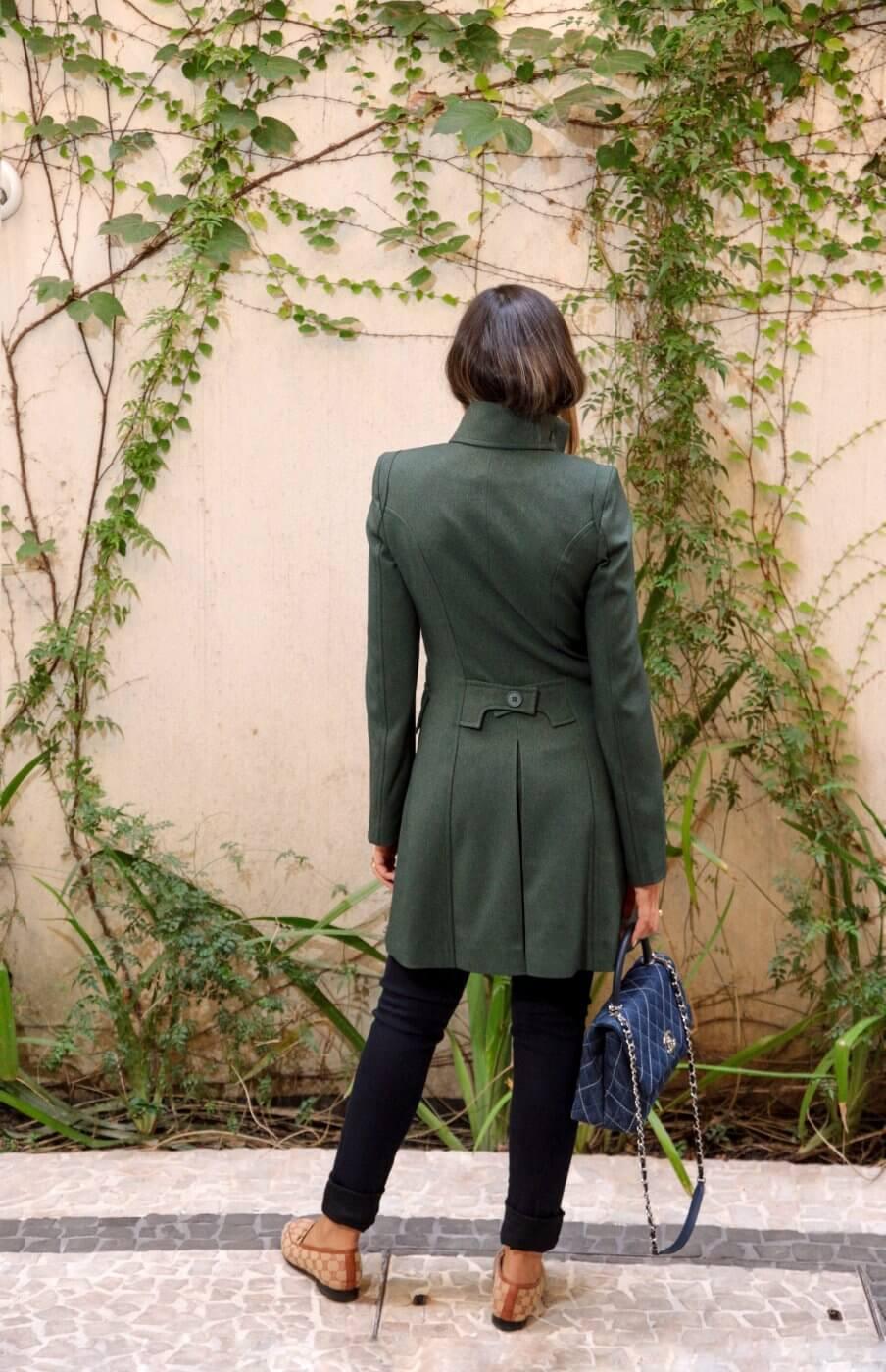 Casaco Feminino Alfaiataria 7/8 Crepe de Lã Verde