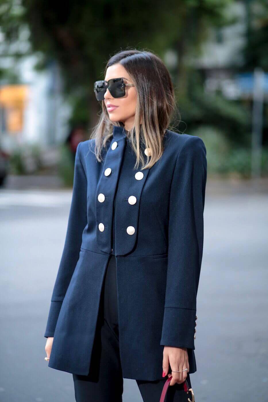 Casaco Feminino Alfaiataria Militar Crepe de Lã Azul Marinho