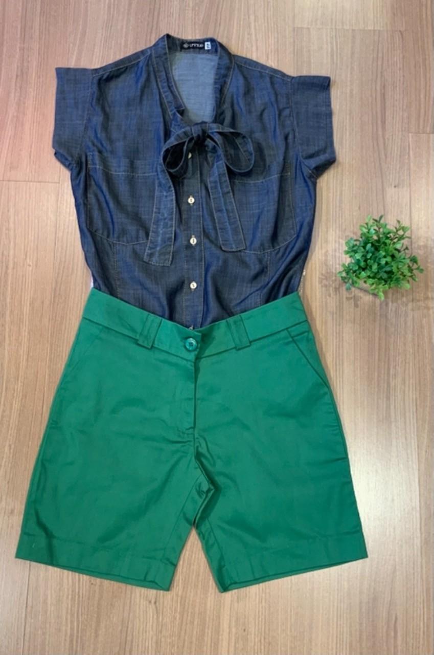 COMBO FÉRIAS | Bermuda Social Sarja + Camisa gola laço liocel